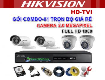 GÓI COMBO-01 TRỌN BỘ 2 CAMERA HIKVISION 2 Megapixel FULL HD